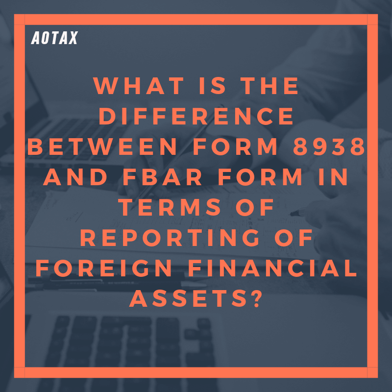 What is the difference between Form 8938 and FBAR form in terms of reporting of Foreign Financial Assets (1)