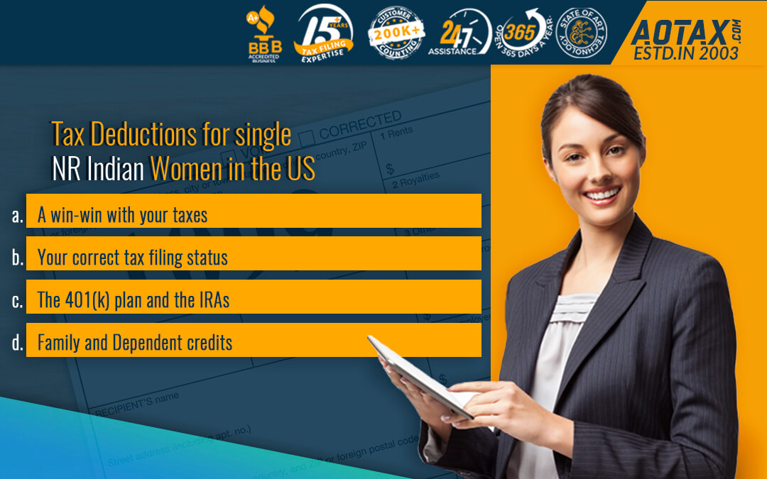 Tax Deductions for single NR Indian Women in the US